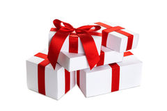 Stack of white Christmas gift Royalty Free Stock Photos