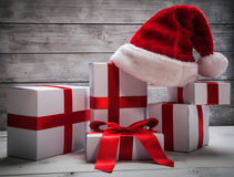 Stack of white Christmas gift Royalty Free Stock Images