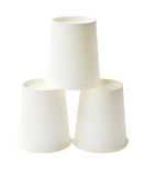Stack of white disposable paper cups isolated (clipping path) Royalty Free Stock Photography