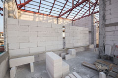 Stack of white Lightweight Concrete block, Foamed concrete block Stock Images