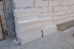 Stack of white Lightweight Concrete block, Foamed concrete block Royalty Free Stock Photography