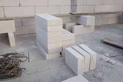Stack of white Lightweight Concrete block, Foamed concrete block Royalty Free Stock Image