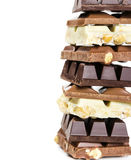 Stack of white, milk and dark chocolate Royalty Free Stock Images