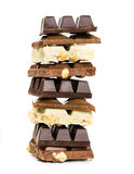 Stack of white, milk and dark chocolate Royalty Free Stock Photos