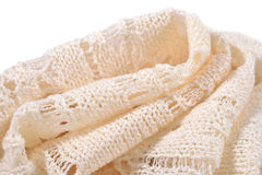 Stack of white openwork knitted fabric Stock Photography