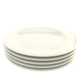 Stack of white plate dishes isolated on white Stock Photos