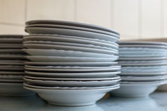 stack of white plates Stock Photography