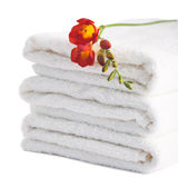 Stack of white soft towels Stock Images
