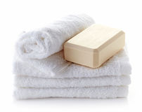 Stack of white spa towels Royalty Free Stock Photography