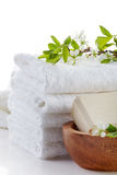 Stack of white spa towels Stock Photos