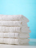 Stack of white spa towels Royalty Free Stock Photos