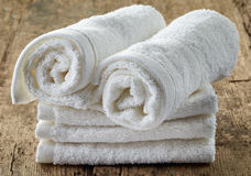 Stack of white spa towels Stock Image