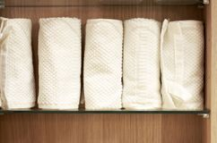Stack of white terry towels front view, close-up royalty free stock images
