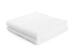 Stack of white towels isolated Royalty Free Stock Image