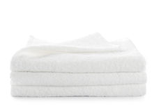 Stack of white towels isolated Royalty Free Stock Photography