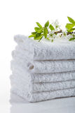 Stack of white towels Stock Photo
