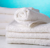Stack of white towels Royalty Free Stock Image