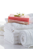 Stack of white towels Stock Photography
