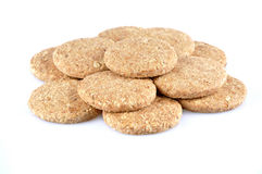 Stack of whole grain cookies isolated on white background Royalty Free Stock Photos
