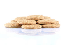 Stack of whole grain cookies isolated on white background Royalty Free Stock Photography