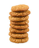 Stack of whole grain cookies with oatmeal Stock Images