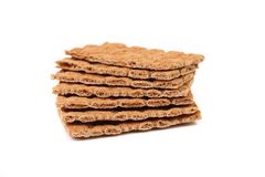 Stack of whole grain crisp bread. Royalty Free Stock Images