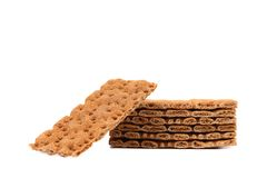 Stack of whole grain crisp bread. Royalty Free Stock Photography