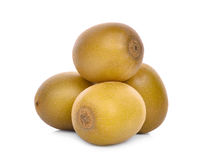 Stack of whole yellow or gold kiwi fruit isolated on white Royalty Free Stock Photos