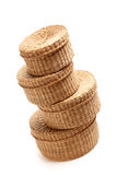 Stack of Wicker Baskets on White Stock Photos
