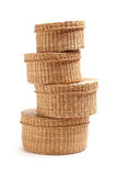 Stack of Wicker Baskets on White Stock Image