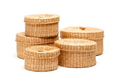 Stack of Wicker Baskets on White Royalty Free Stock Photos