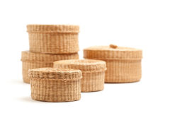 Stack of Wicker Baskets on White Stock Photo