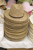 Stack of wicker hats Stock Images