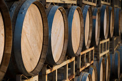 Stack of wine barrels Royalty Free Stock Photography