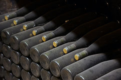 Stack of wine bottles Stock Photos