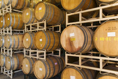 Stack Of Wine Casks In Rows Stock Photo
