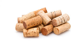 Stack of wine corks on white Stock Photography