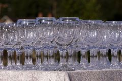 Stack wine glasses Stock Photo
