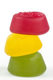 A stack of wine gums. In traffic light colour sequence Stock Photo