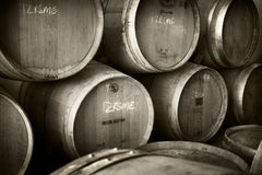 Stack of wine vats stock images