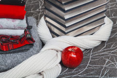 Stack of winter clothes and books with silver edge Royalty Free Stock Photos