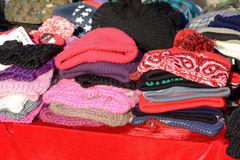 Stack of winter hats for sale Royalty Free Stock Photography
