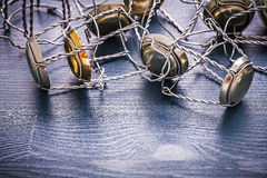 Stack wires of champagnes corks Stock Images