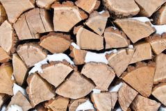 Stack of wood. The chopped firewoods are built in the stack of wood. texture Royalty Free Stock Photography