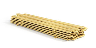 Stack of wood boards. Isolated on a white background. 3d illustration Royalty Free Stock Photography
