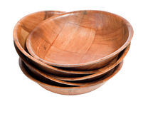 Stack of Wood Bowls. A stack of wooden bowls isolated against a white background Royalty Free Stock Photos