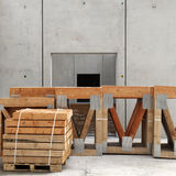 Stack of wood on building site Stock Photos