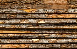 Stack of wood. Detail of the bark of cut tree trunks. woodpile. Carpentry. texture