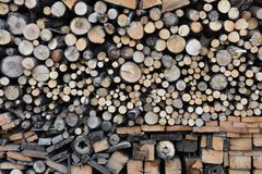 Stack of wood with different fuelwood stock image