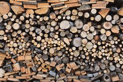 Stack of wood with different fuelwood stock photography